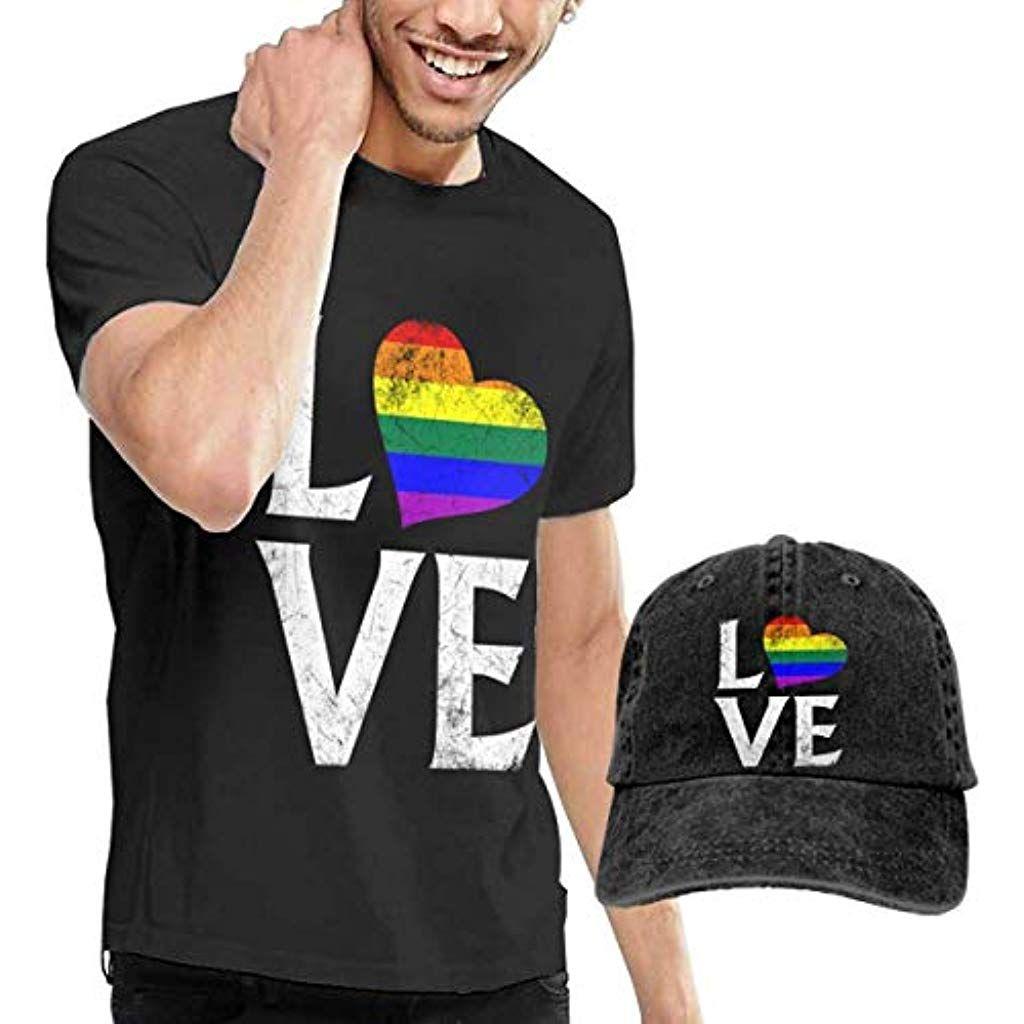 Love Heart Shirts Short Sleeve Denim Hat Mens