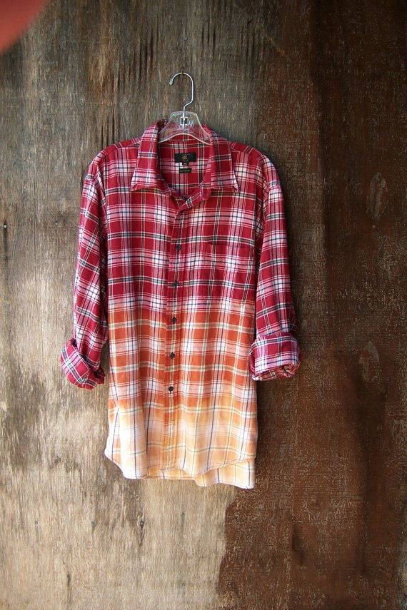 Ombre Half Bleached Grunge Flannel Shirt Red Plaid Dip Dye