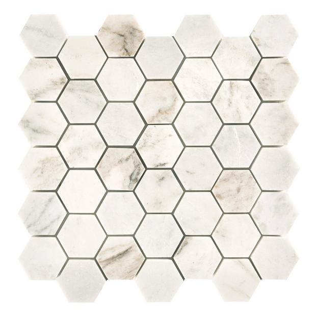 Bianco Orion Hexagon Polished Marble Mosaic White Marble Tiles Mosaic Tiles Marble Mosaic