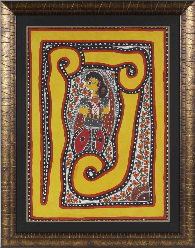 Madhubani Full Size Vertical Painting, Call Stara D' Arts for Price.Call 949.376.9800 for Price & More Information or email staradart@gmail.com.Sku PNTMB1-FL-VL-015 Photo