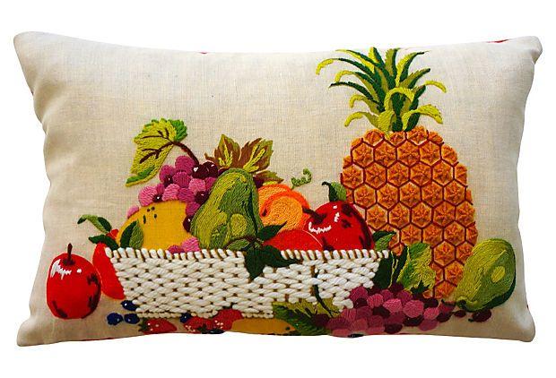 Crewel Fruit Lumbar Pillow On Onekingslane Com Cross Stitch Pillow Vintage Needlepoint Pillows