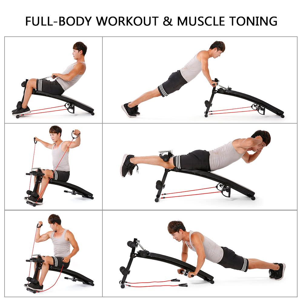 Get 10 Discount For Tomshoo Adjustable Arc Shaped Decline Ab Bench Abdominal Crunch Sit Up Training Bench Workout Surfing Workout Abs Workout For Women