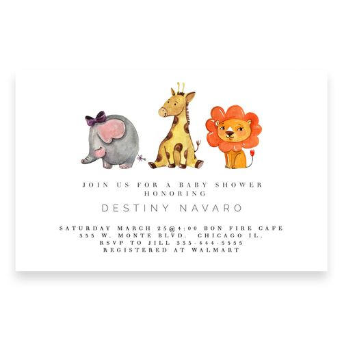 Animal Baby Shower Invitation Zoo Elephant Lion Giraffe Modern