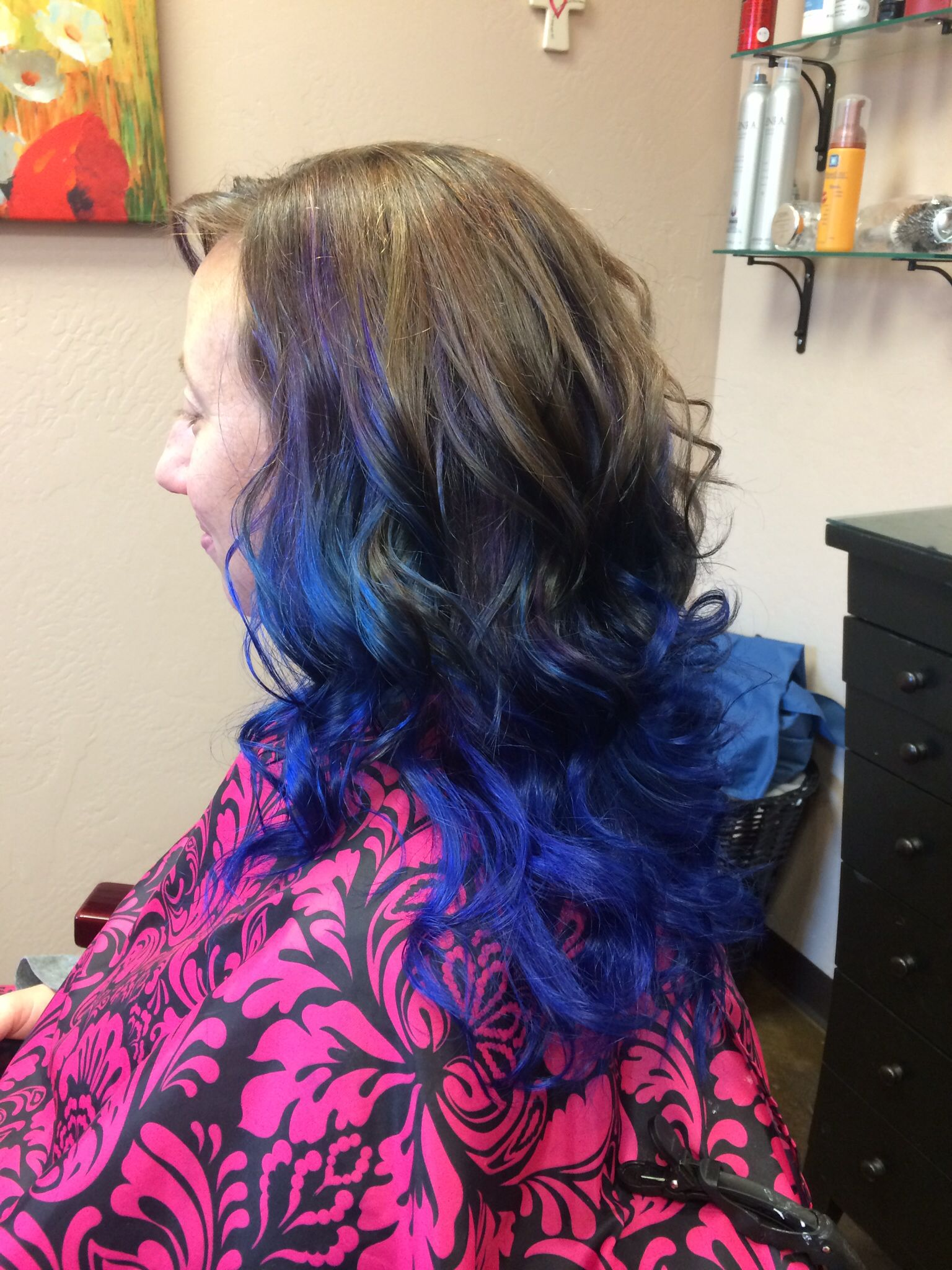 Blue ombré hair and nails by teresa pinterest