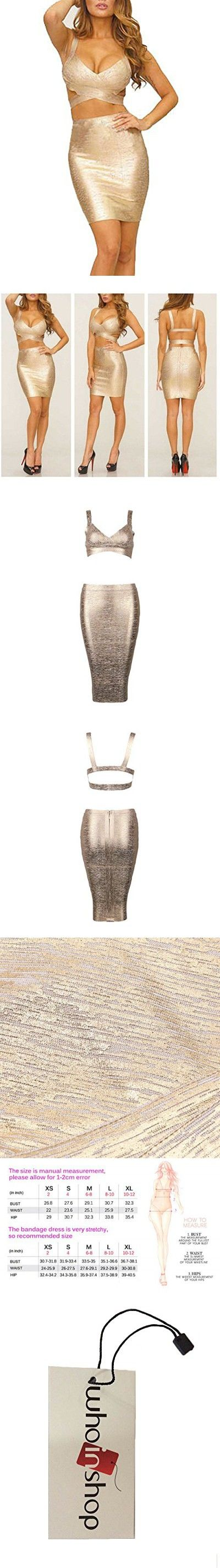 9213a97c0cc Whoinshop Women's Bodycon Skirt Set 2 Pieces Sleeveless Celebrity Bandage  Dress