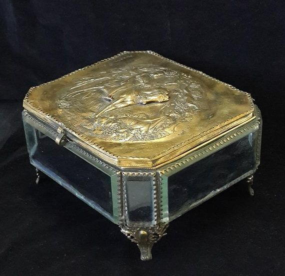 Antique 19th Century French Jewelry box Handmade from Crystal Glass