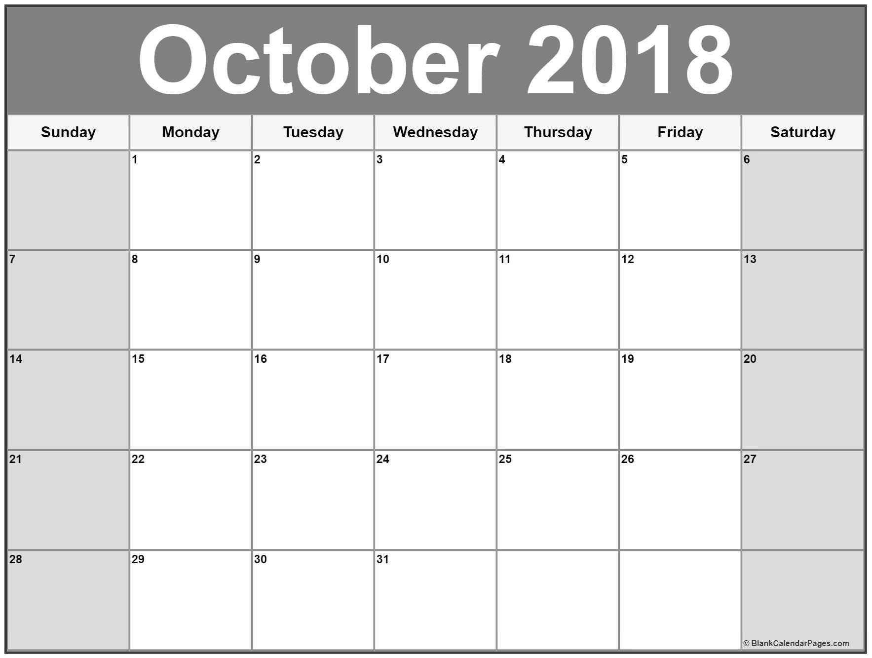october 2018 blank calendar october printable calendar