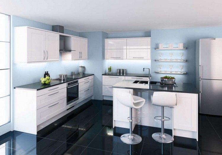 peinture de cuisine bleu glacier et armoires de cuisine blanches