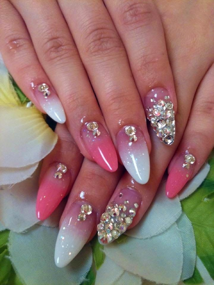 Simple Acrylic Nail Designs With Rhinestones Nails Pinterest