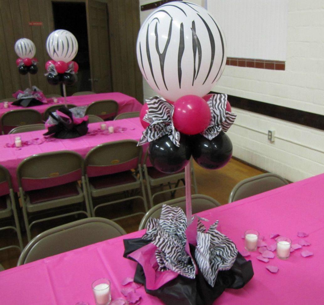 zebra print baby shower table decorations