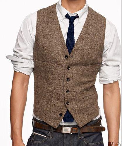 2018 Vintage Brown Tweed Vest Wool Herringbone Groom Vests Mens Suit Vests  Slim Fit Mens Dress Vest Custom Wedding Waistcoat 5a7f4c2d0a9a