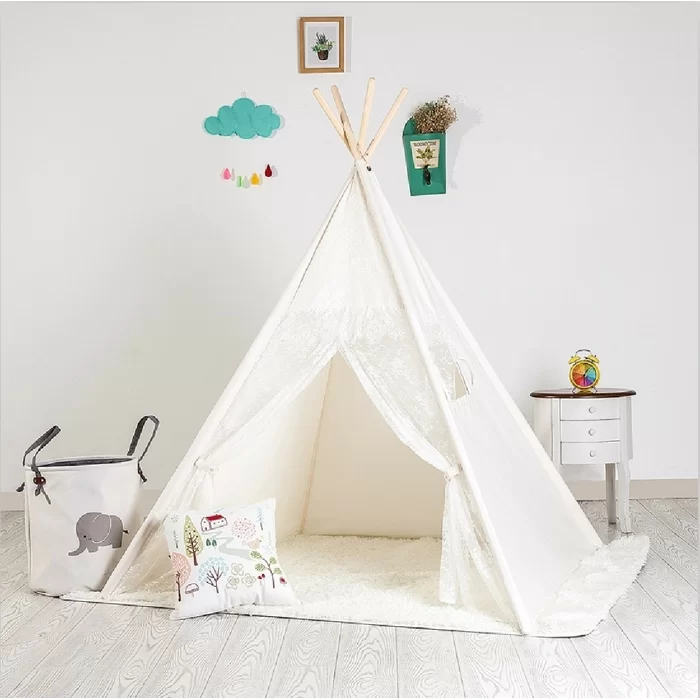 Triangular Play Tent With Carrying Bag Play Teepee Teepee Kids Kids Playroom Decor