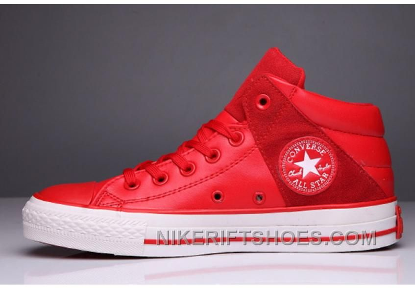 Red All Star CONVERSE Padded Collar Leather Terminator