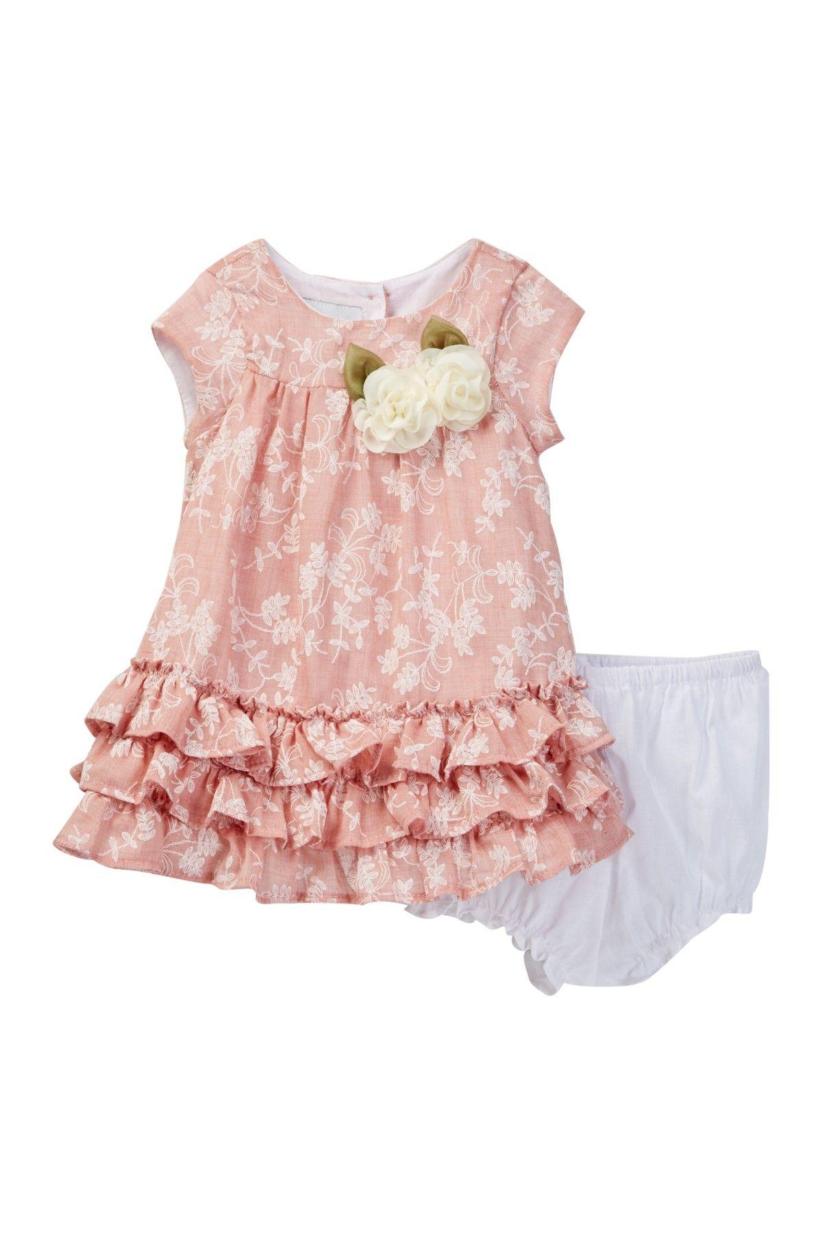 Short Sleeve Print Dress Baby Girls
