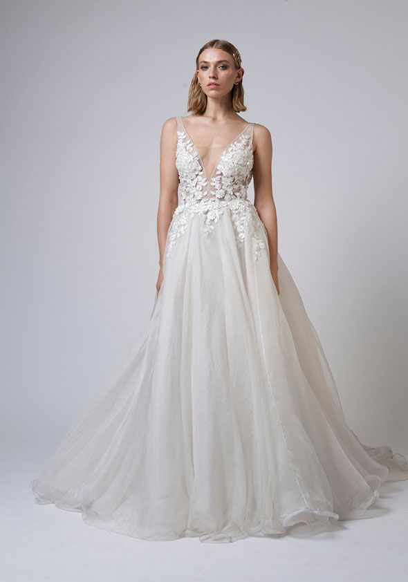 Mariana Hardwick Wedding Dresses - Incarnation bridal collection - Sheer tulle bodice with 3D floral applique and full silk organza skirt wedding dress embellishment wedding gown #weddingdress #weddinggown #weddingdresses