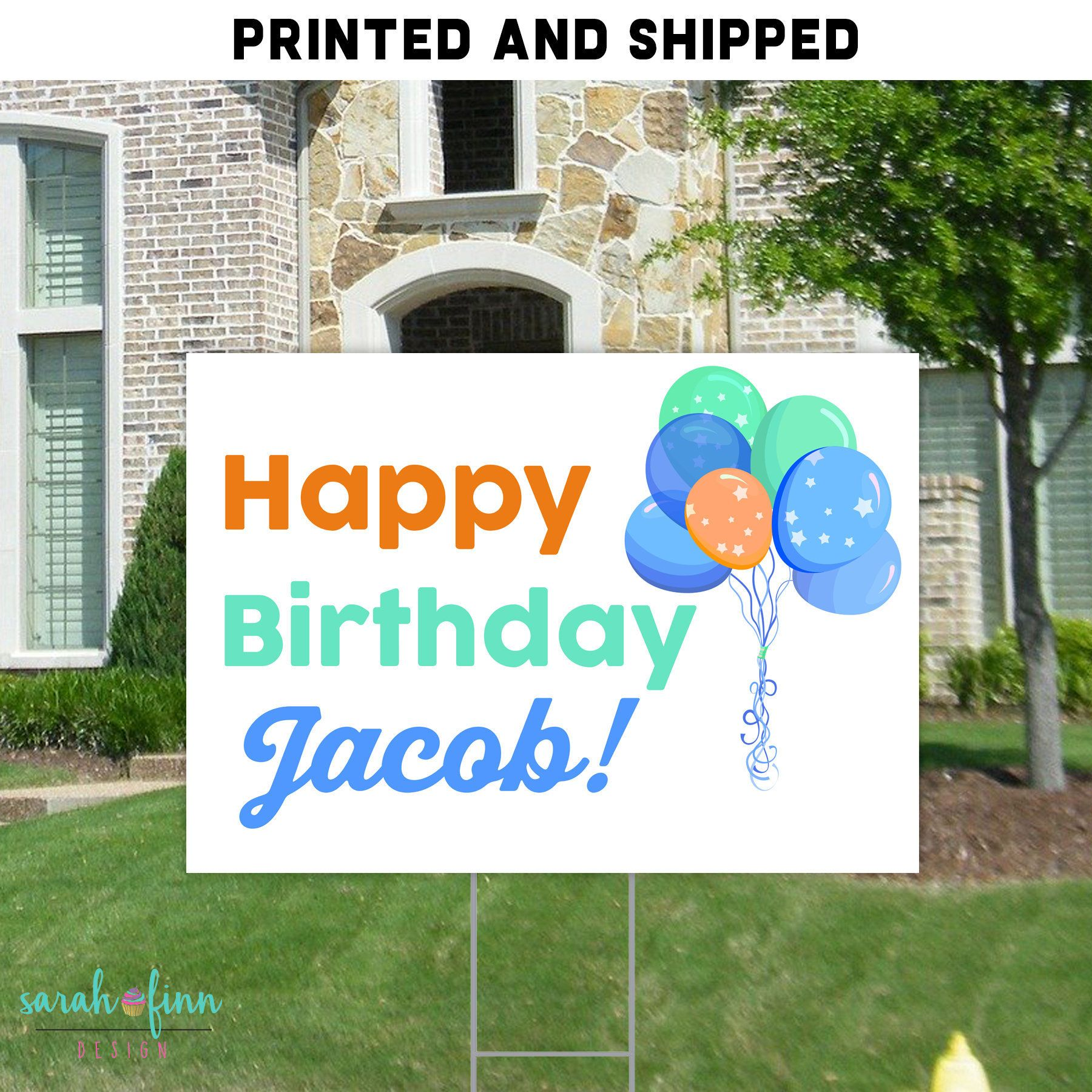 Birthday balloon yard sign personalized for boy birthday