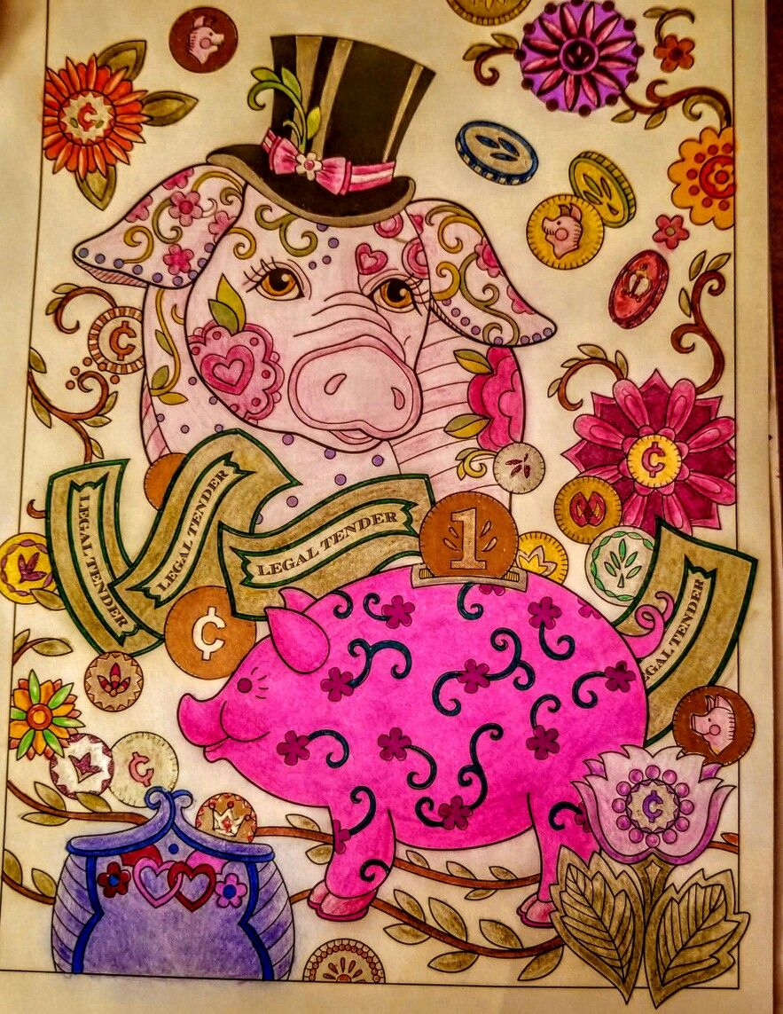 Joan Bosotina Colorest Pampered Pets Coloring Book Marjorie Sarnet Artist All The Coins Are Metallic Doesn T Show