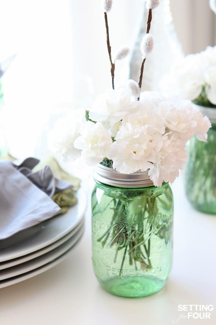 Quick and Easy Mason Jar Centerpieces | Mason jar centerpieces, Jar ...