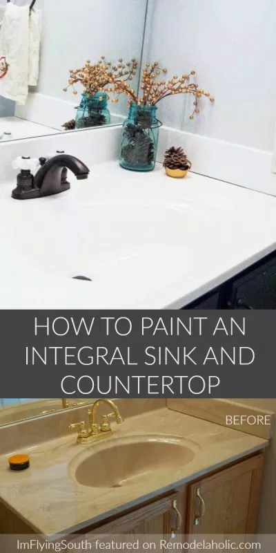 How To Paint An Integral Sink And Countertop In 2020 Diy