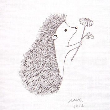 Hedgehog With Flower Ink Drawing Print Black White Wall Art Woodland Love Illustration Rustic Home Decor 5x7 Simple Modern MiKa