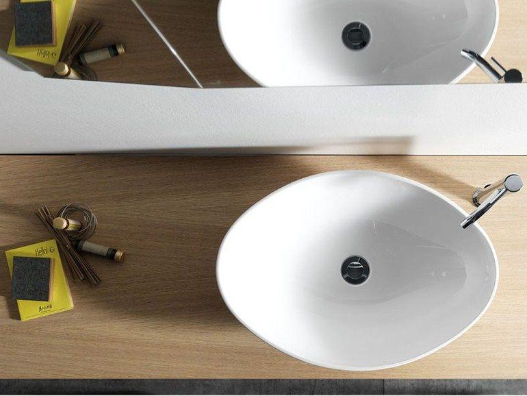 Lavabo Esterno Moderno : Lavabo da appoggio in ceramica in stile moderno bell by ex t