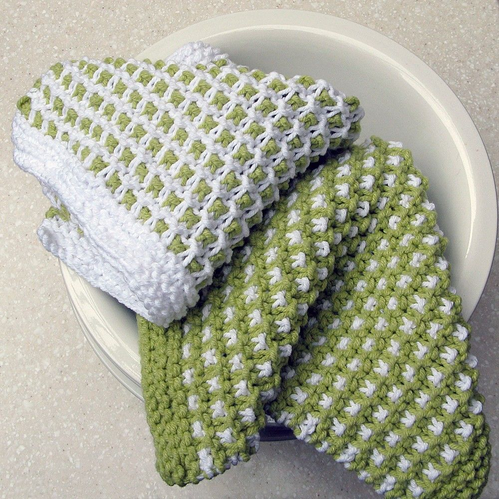 Hand Knit Cotton Dish Cloths, via Etsy. Slip stitch pattern ...