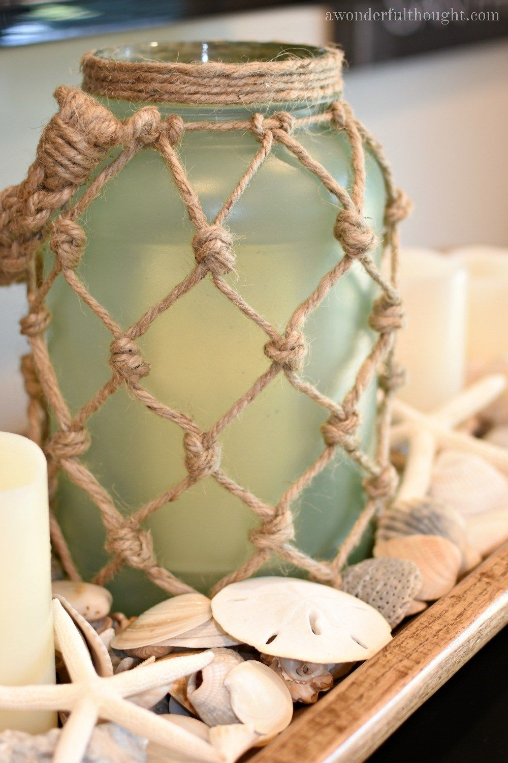 DIY Sea Glass Rope Lantern - A Wonderful Thought