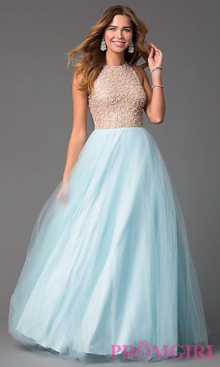57fe5ff60db Beaded High Neck Sky Blue Long Glamour by Terani Prom Dress at PromGirl.com