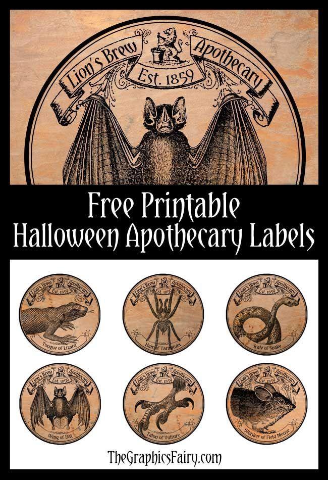 Halloween Apothecary Labels Halloween apothecary labels, Halloween - halloween decoration printables