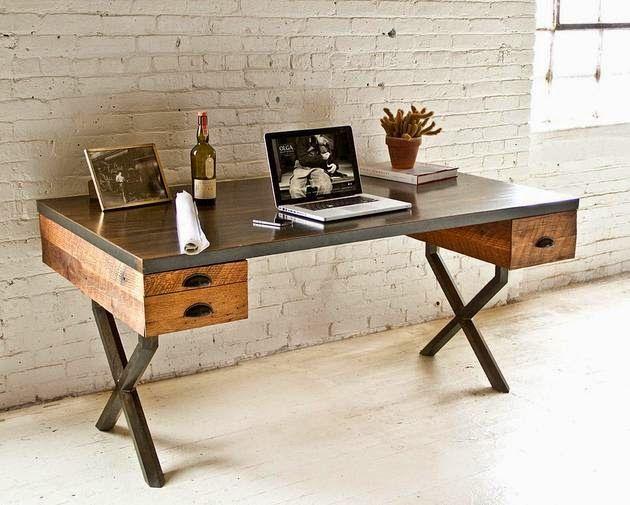 Houten Bureau Kantoor : Bureau walter rustique et industriel decodesign décoration