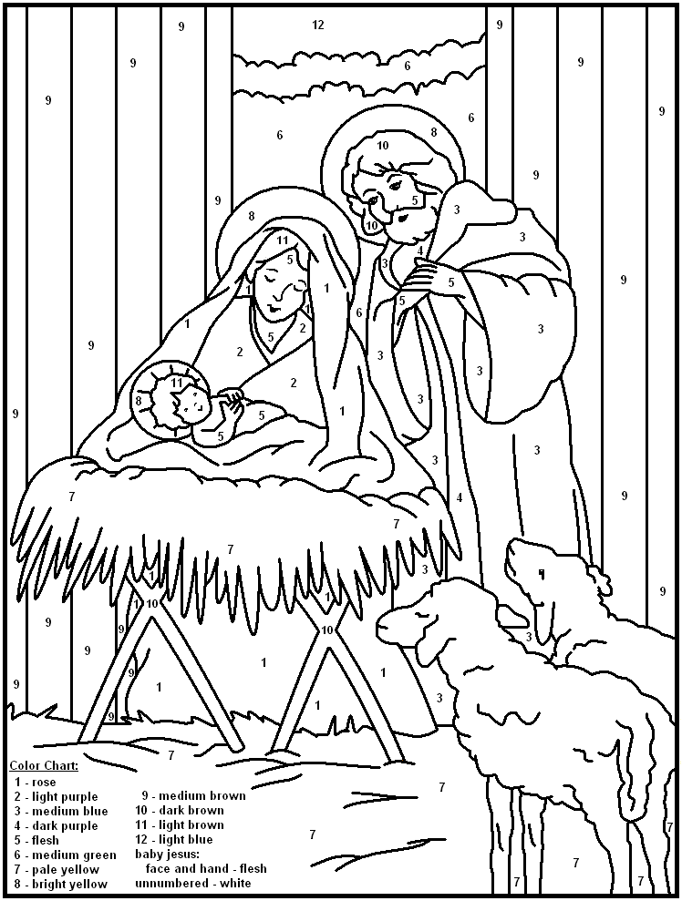 Free Printable Christmas Reason For The Season Color By Number Christmas Coloring Pages Christmas Colors Sunday School Crafts