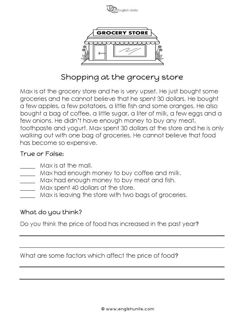 - Short Story - Shopping At The Grocery Store Short Reading