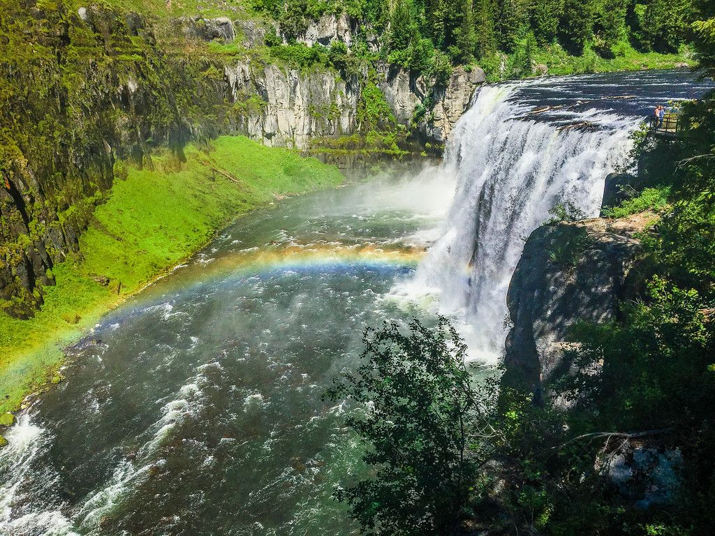 Upper Mesa Falls in the Caribou-Targhee National Forest in eastern Idaho. The falls are located on the way to West Yellowstone from Idaho Falls and are breathtaking, especially with the rainbow!