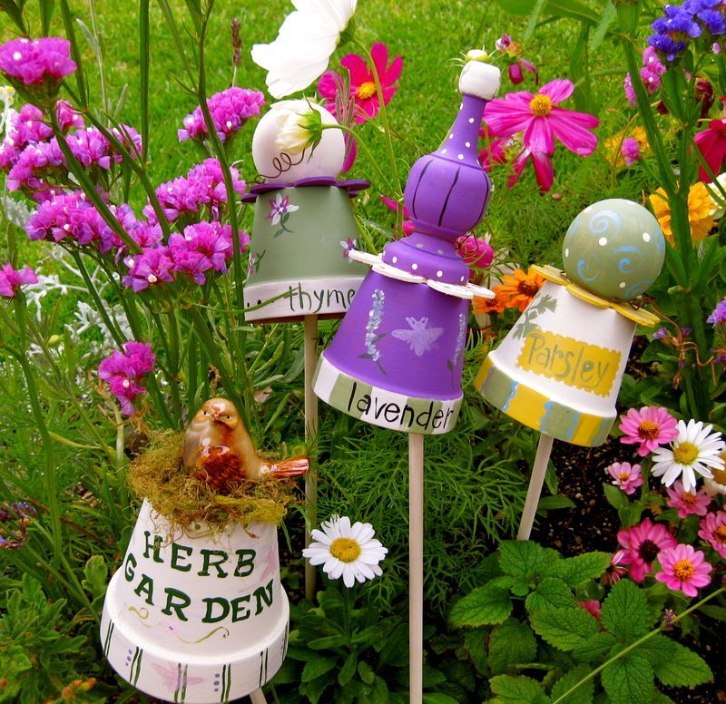 whimsical garen decor made with pots