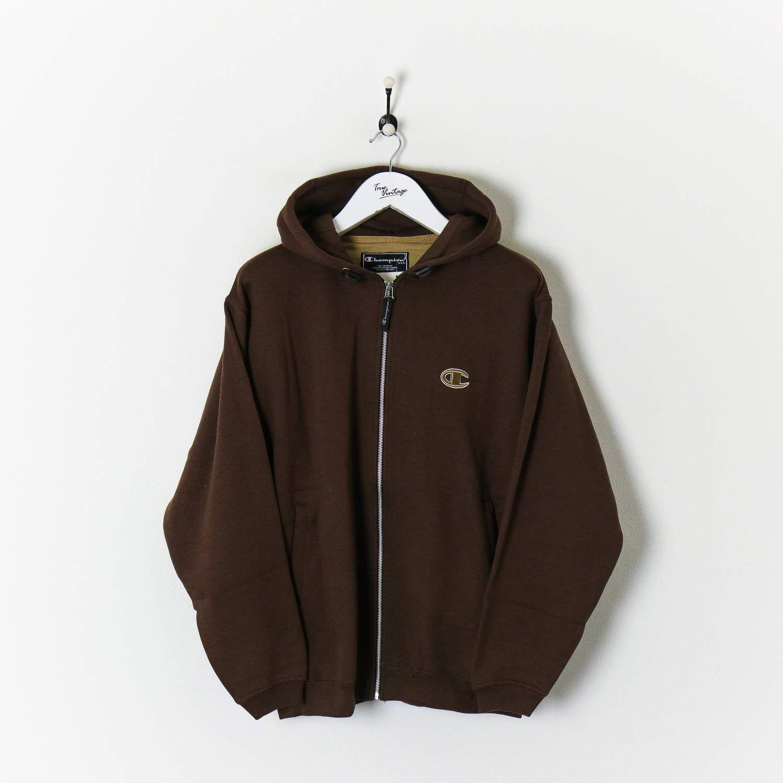 Champion Zip Hoodie Brown Large New True Vintage In 2020 Hoodie Outfit Brown Zip Ups Zip Hoodie