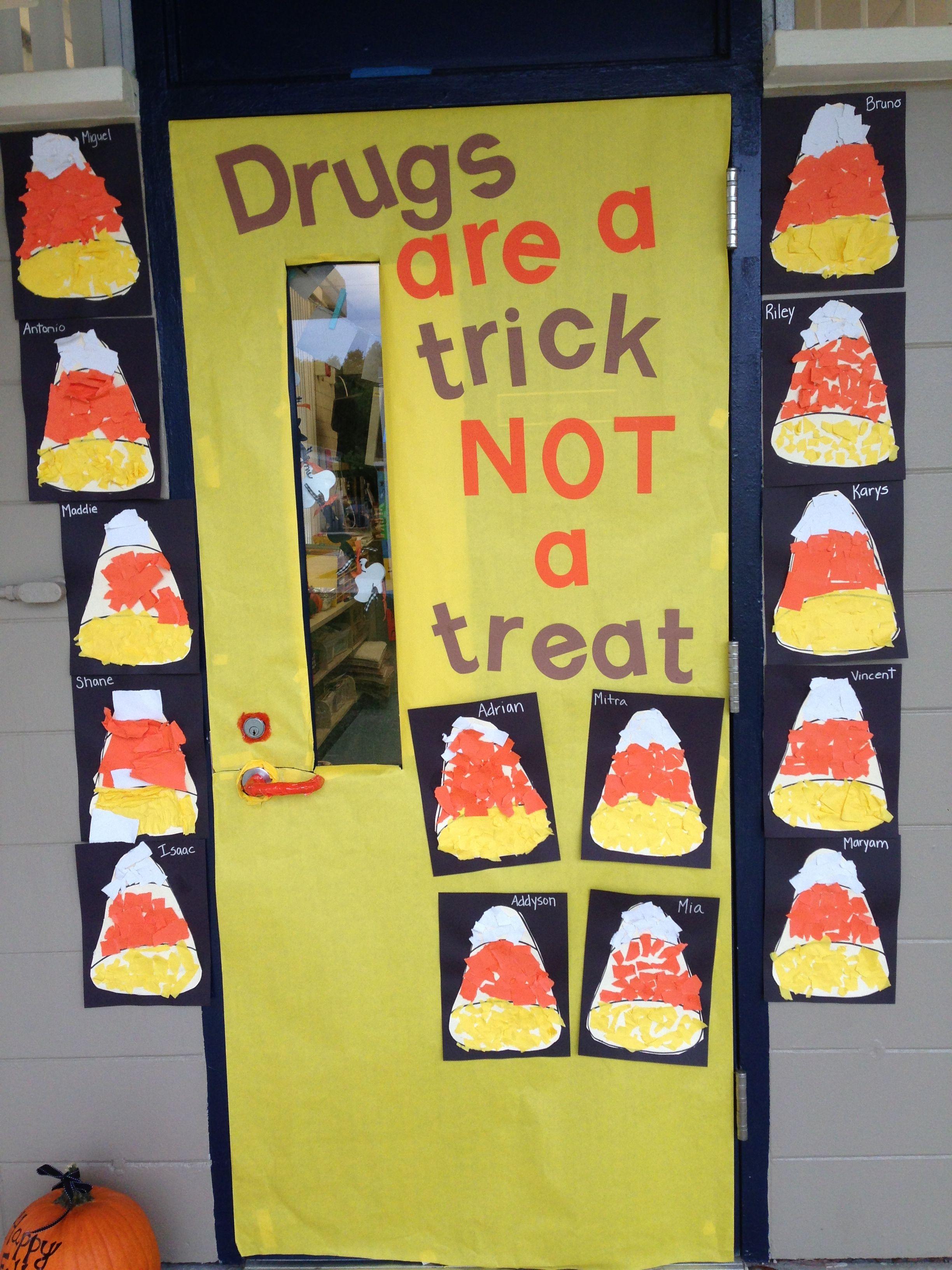 Classroom Red Ribbon Week Door Decoration Kindergarten