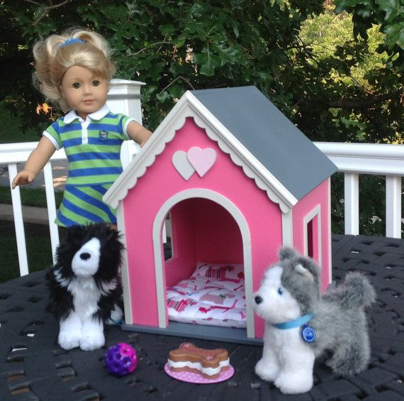 American Girl Doll Dog House Large Pink By Bedsandthreads On Etsy