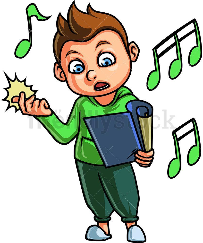 Little Boy Singing Cartoon Clipart Vector Friendlystock Kids Clipart Kids Vector Cartoon Clip Art