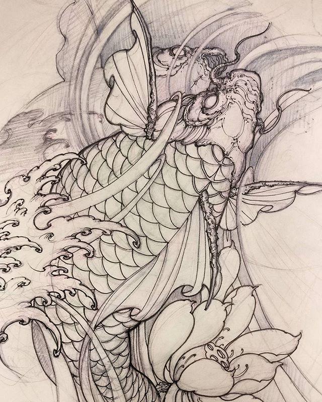 David Hoang On Instagram Back To Back Tiger Tattoo: Koi Sketch. #koi #illustration #sketch #tattoo #drawing