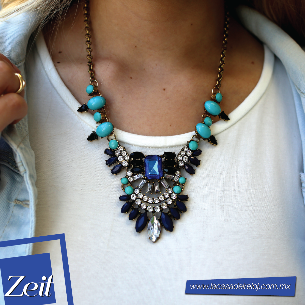 #Outfit #Zeit #Moda #Accesorios #oodt #neclace #gold #trends #2015trends #fashion #style #blue #necklace #tendencias #collar