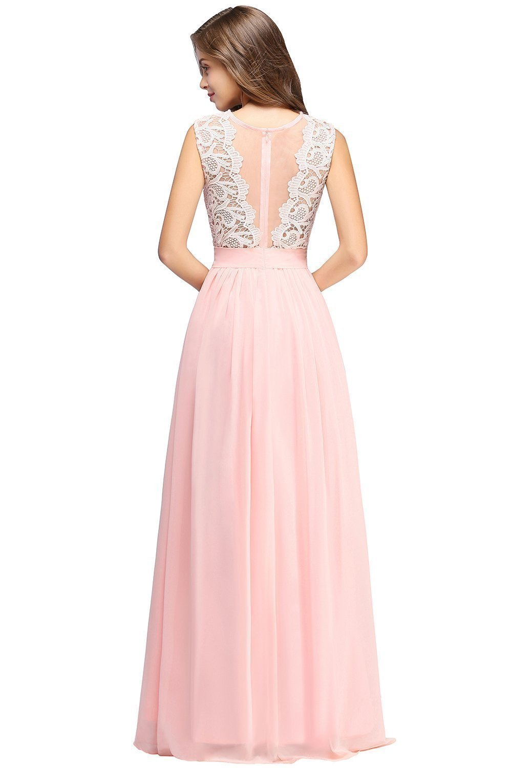Buy chiffon dress lace evening dresses formal party dress sleeveless