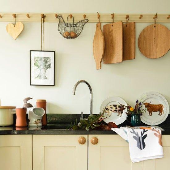 Peg rail, kitchen storage solutions