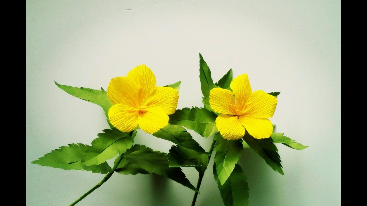 How To Make Turnera Ulmifolia Flower From Crepe Paper Craft