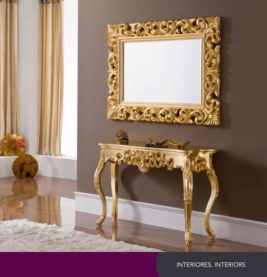 CK58 Modern European Gold Console Table and optional EPU049 Mirror ...