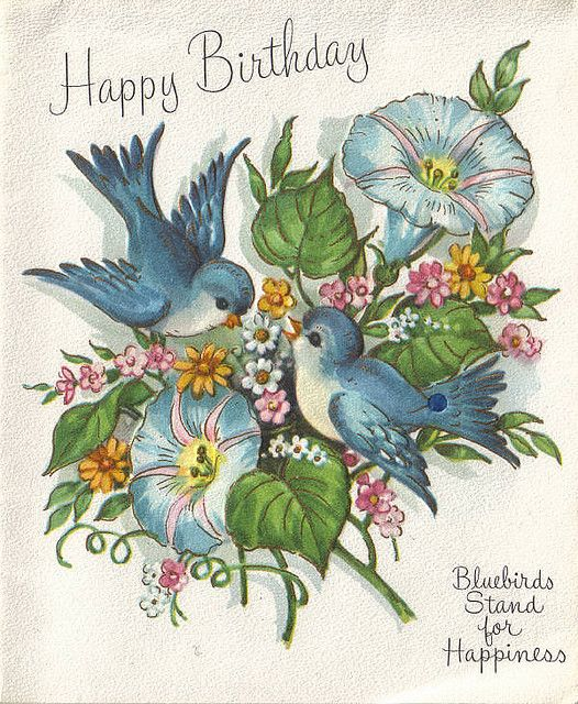 Blue bird birds pinterest vintage birthday cards vintage vintage greeting card happy birthday bluebirds stand for happiness by m4hsunfo Image collections