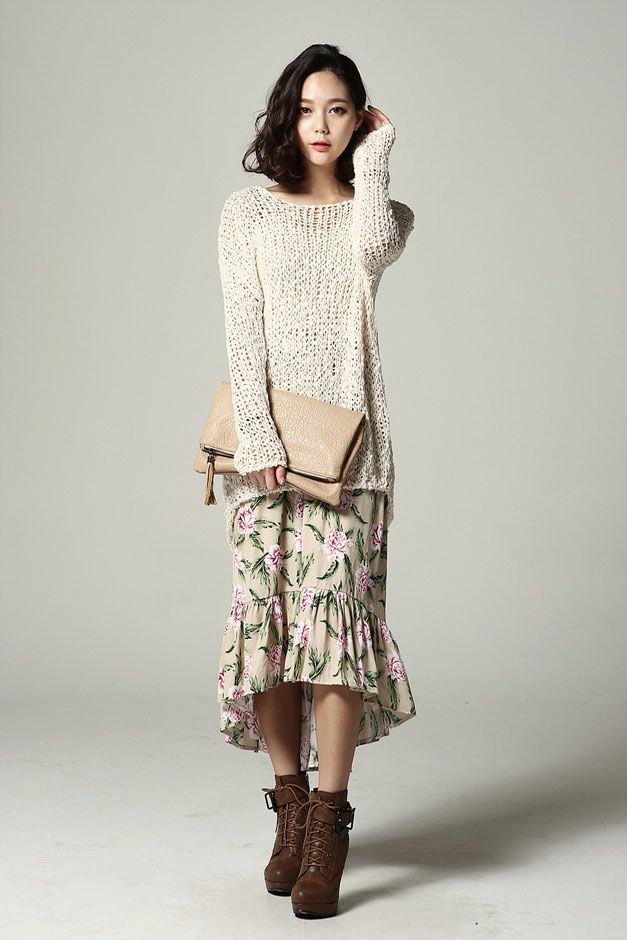 Natural Loose Fit Knit Top