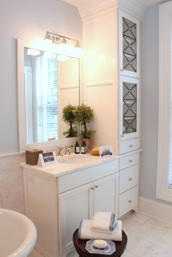 Southern Living Idea House Master Bath Cabinets Love The Builtin Storage. E