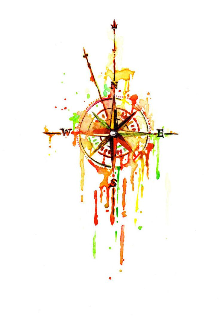 8314453116b14 A nautical-style compass tattoo design in watercolor. | Arting on ...