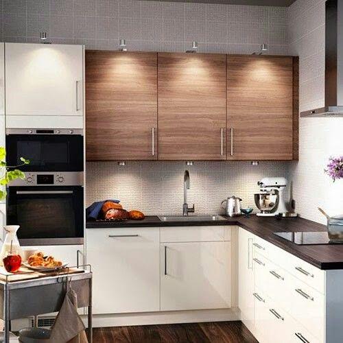 Cocinas mueble bajo blanco y madera alto | Cocinas | Muebles ...