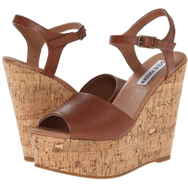 Steve Madden Korkey Women's Wedge Shoes, Tan (940 MXN) ❤ liked on Polyvore